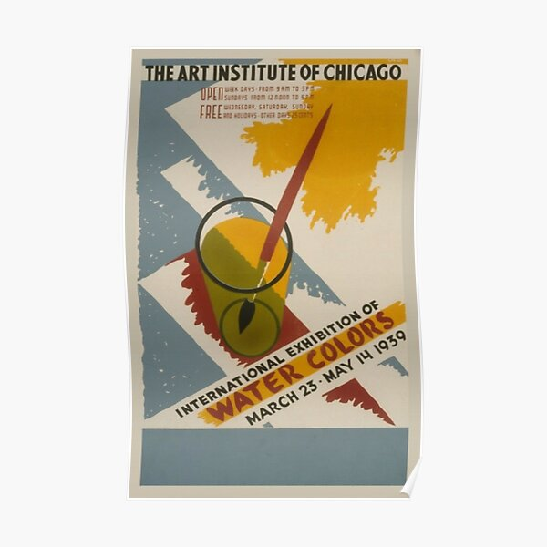 Chicago Watercolor Art Exhibition Vintage Poster Poster
