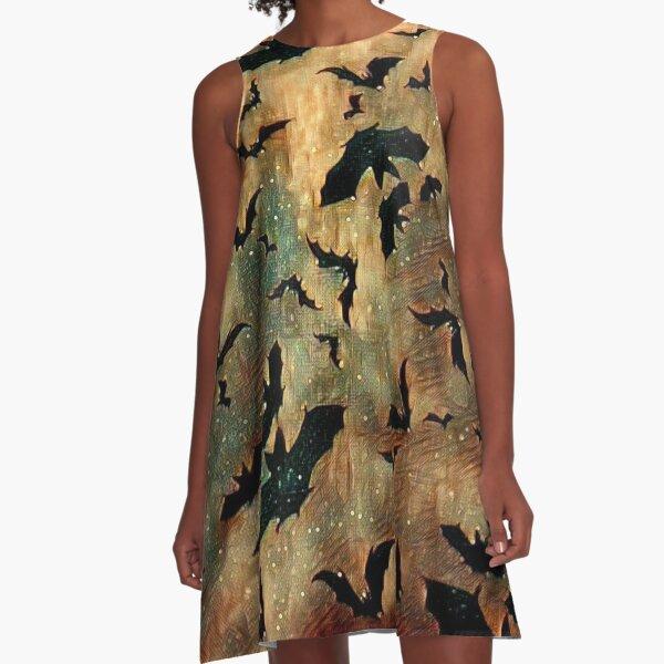 Bats On Gold Magic. A-Line Dress