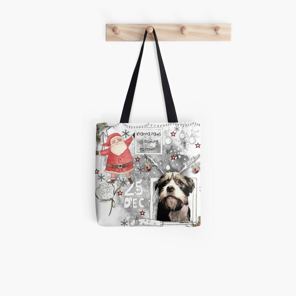 Santa Paws Is Coming To Town Tote Bag By Tracpitch Redbubble