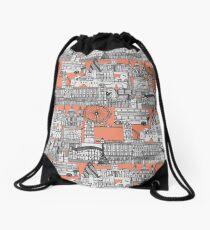 London toile peach Drawstring Bag