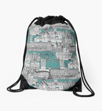 London toile blue Drawstring Bag