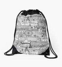 London toile black white Drawstring Bag