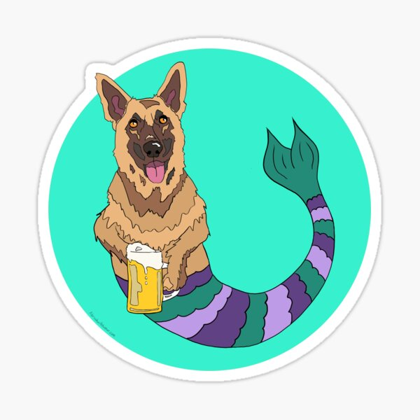 Oswald the German Shepherd Mermutt Sticker