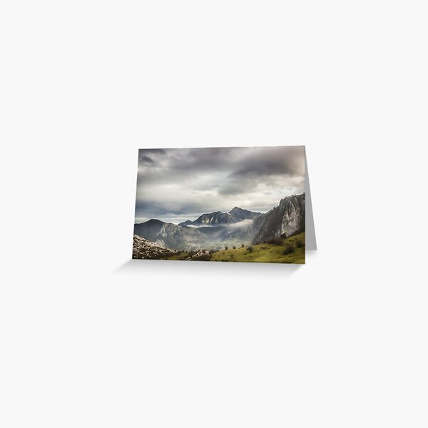 Fog and Clouds over Mountains Greeting Card