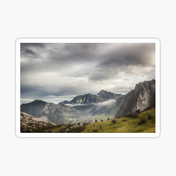 Fog and Clouds over Mountains Sticker