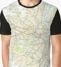 London Underground Geographical Map - Phone/Tablet Case, Poster, Sticker Graphic T-Shirt