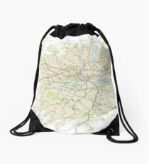 London Underground Geographical Map - Phone/Tablet Case, Poster, Sticker Drawstring Bag