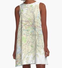London Underground Geographical Map - Phone/Tablet Case, Poster, Sticker A-Line Dress