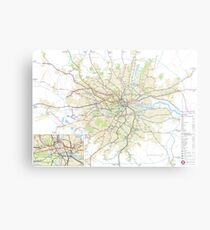 London Underground Geographical Map - Phone/Tablet Case, Poster, Sticker Metal Print