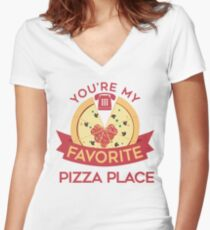My Favorite Pizza Place Women's Fitted V-Neck T-Shirt