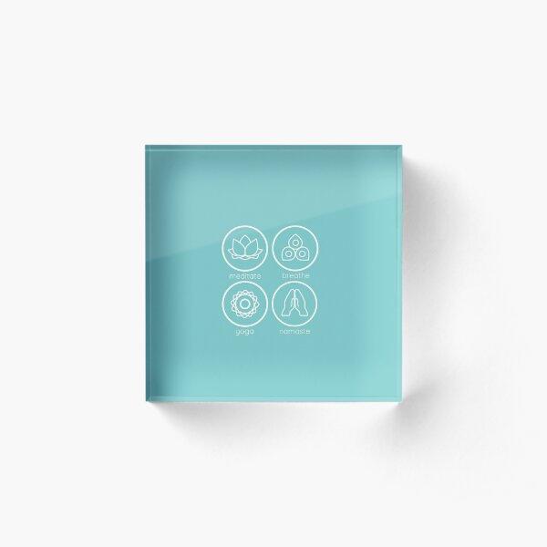 Yoga inspired icons combination Acrylic Block