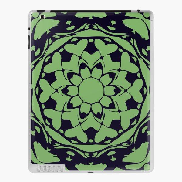 Dark Blue & Green Floral Abstract Mandala iPad Skin
