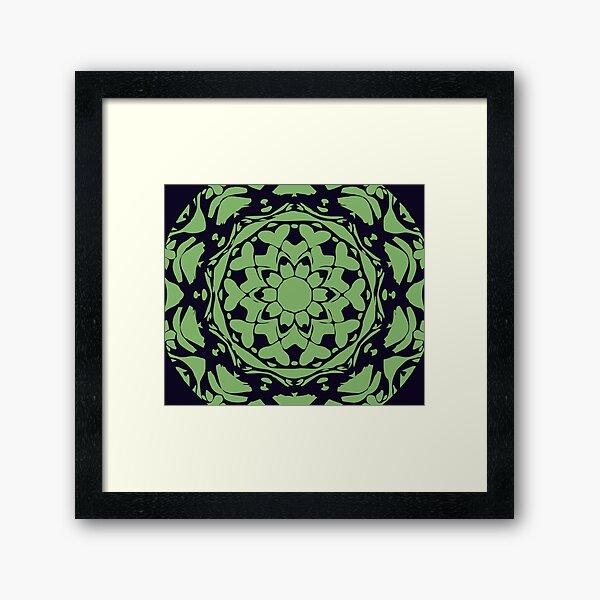Dark Blue & Green Floral Abstract Mandala Framed Art Print