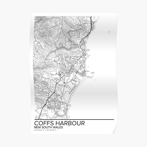 Coffs Harbour map poster print wall art, New South Wales gift printable, Home and Nursery, Modern map decor for office, Map Art, Map Gifts Poster