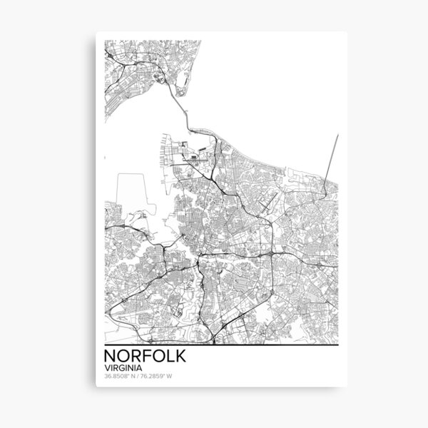 Norfolk map poster print wall art, Virginia gift printable, Home and Nursery, Modern map decor for office, Map Art, Map Gifts Metal Print