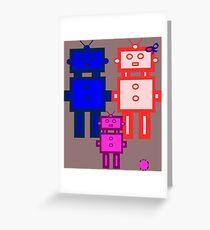 Retro robot family Greeting Card