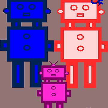 Retro robot family by JoAnnFineArt