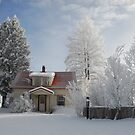 Finnish Farmhouse in Idaho Winter by Janet Houlihan