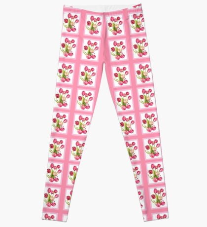9 bunches of Pink Tulip Flowers by Kristie Hubler Leggings