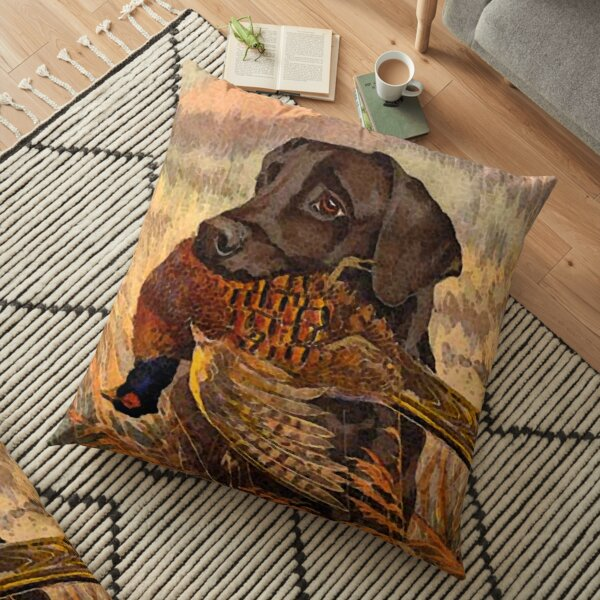 Vintage Labrador Hunting  Floor Pillow