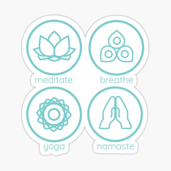 Yoga inspired icons - combination Sticker