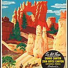 Vintage Bryce Canyon Utah Travel Vacation Holiday Advertisement Art Poster by jnniepce