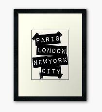 PARIS LONDRES CIUDAD DE NUEVA YORK Lámina enmarcada
