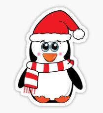Pegatina Baby Penguin En Navidad Santa Hat