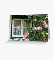 Rose framed thatched cottage window, Wiltshire Greeting Card