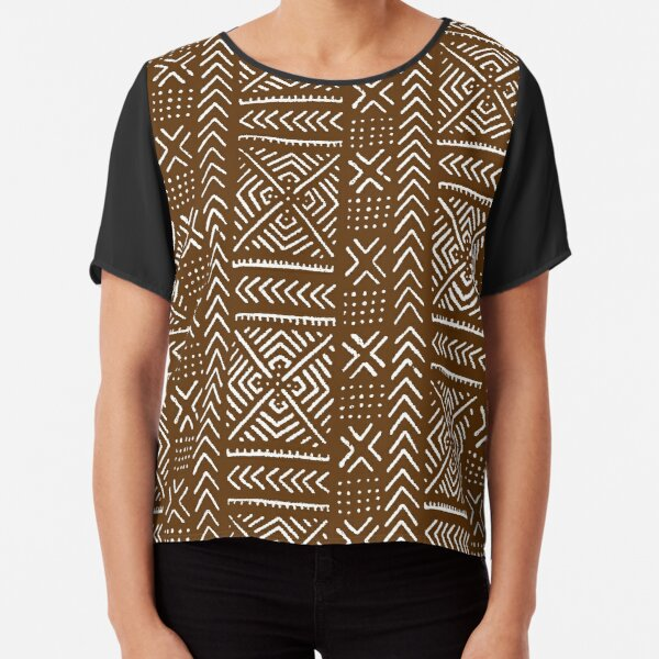 Line Mud Cloth // Brown Chiffon Top