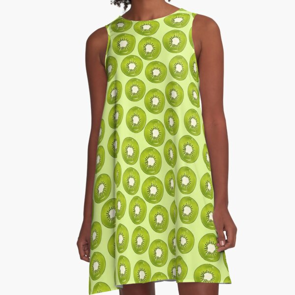 Kiwi Print - Green BG A-Line Dress