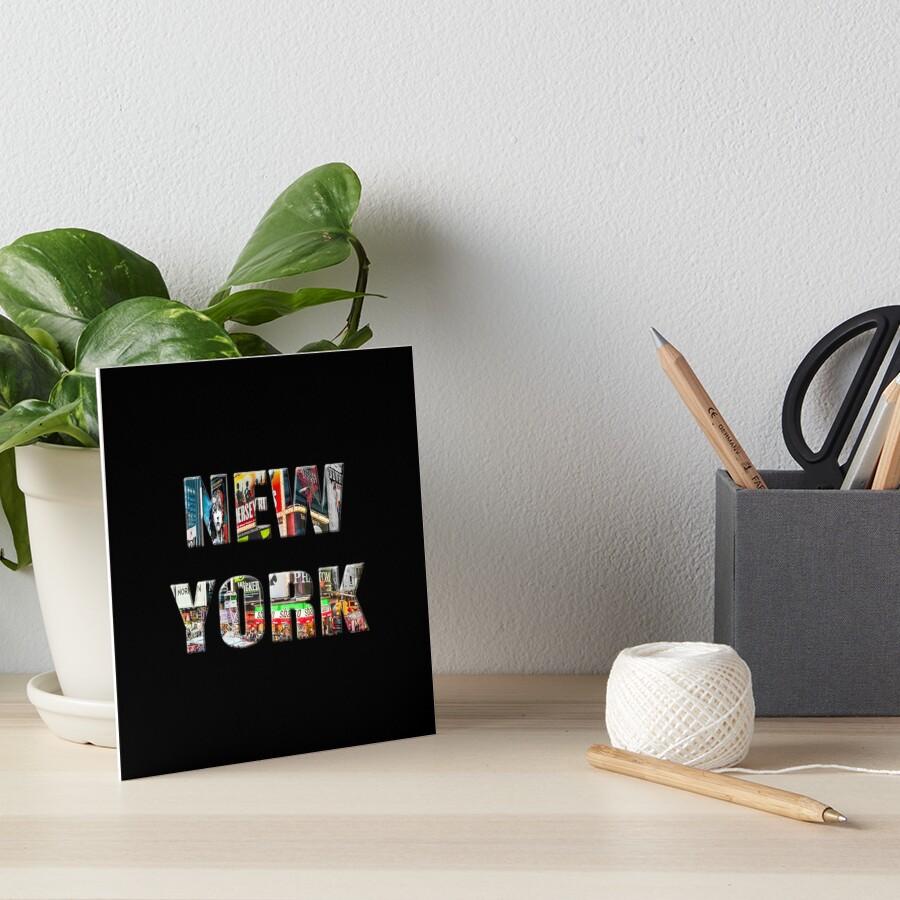 New York (colour photo type on black) Art Board Print