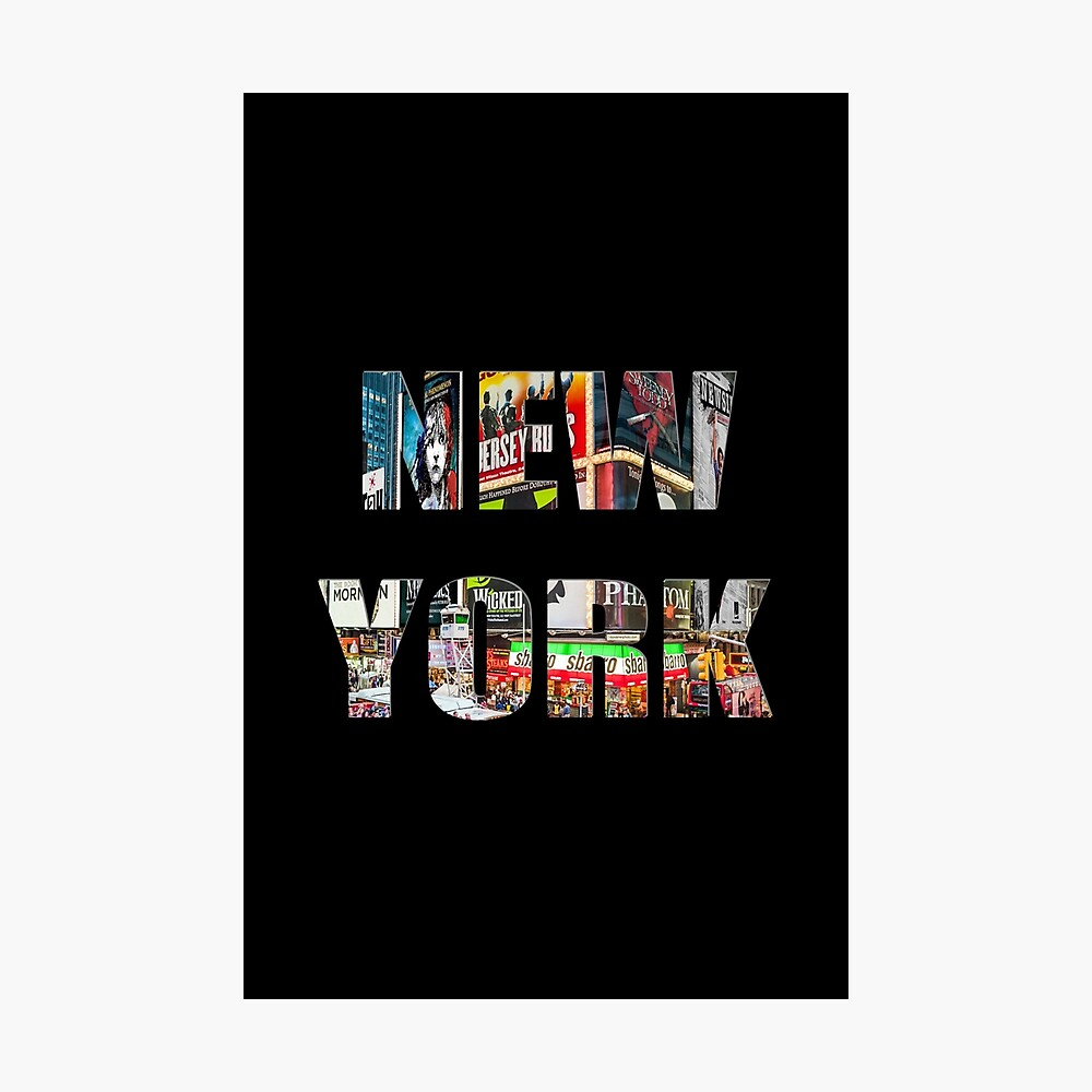 New York (colour photo type on black) Photographic Print