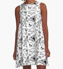 Cryptid Pattern Lines Black A-Line Dress