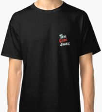 True Crime Junkie Handlettered Script Red White and Blue Classic T-Shirt