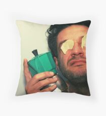 odd person with green coffee pot Throw Pillow