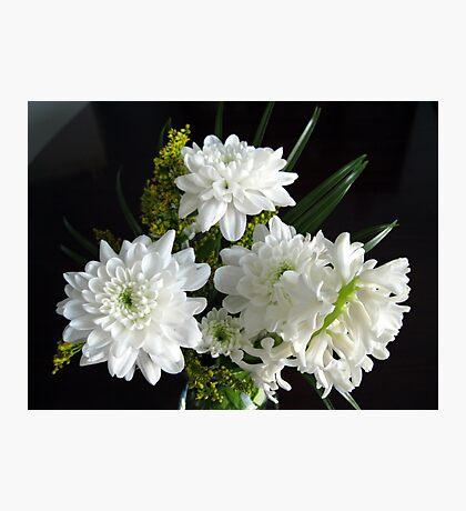Reinheit - weiße Hyazinthe und Dahlien Fotodruck