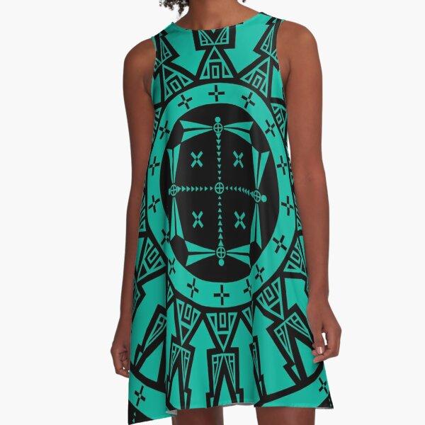 Dragonfly (Aqua) A-Line Dress