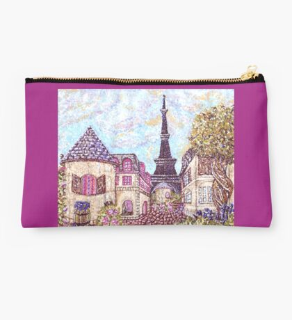 Paris Eiffel Tower inspired pointillism landscape by Kristie Hubler Studio Pouch