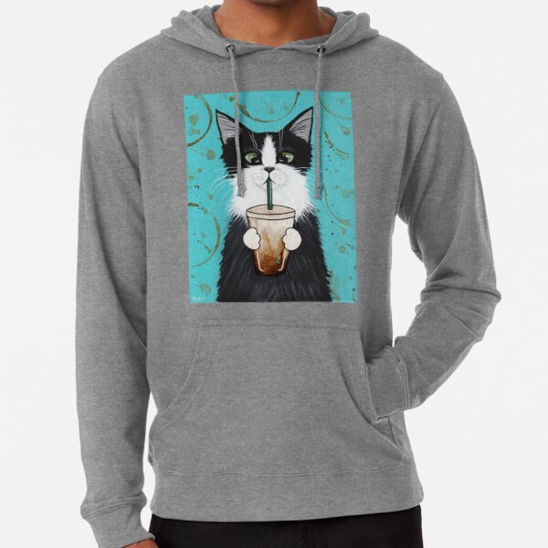 Tuxedo Cat with Iced Coffee Lightweight Hoodie