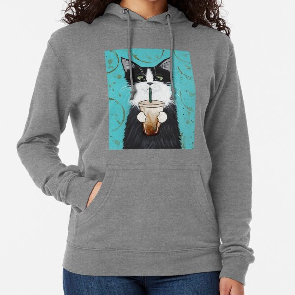 Tuxedo Cat with Iced Coffee Lightweight Hoodie