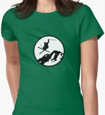 skiing 2 Womens Fitted T-Shirt