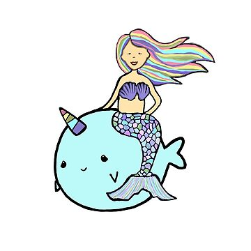 Mermaid with Rainbow Hair Riding Pet Narwal by Swigalicious