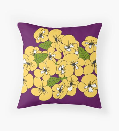 Purple and Pansies  Throw Pillow