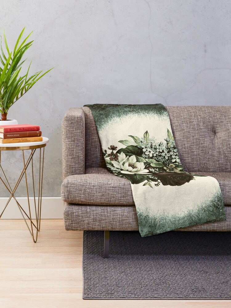Alternate view of Vintage Roses Shabby Chic Flowers Throw Blanket