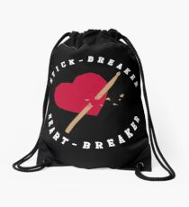 Stick Breaker Heart Breaker on Black Drawstring Bag