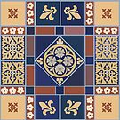 Medieval tiles: Blue Rose and Fleur de lis by Aakheperure