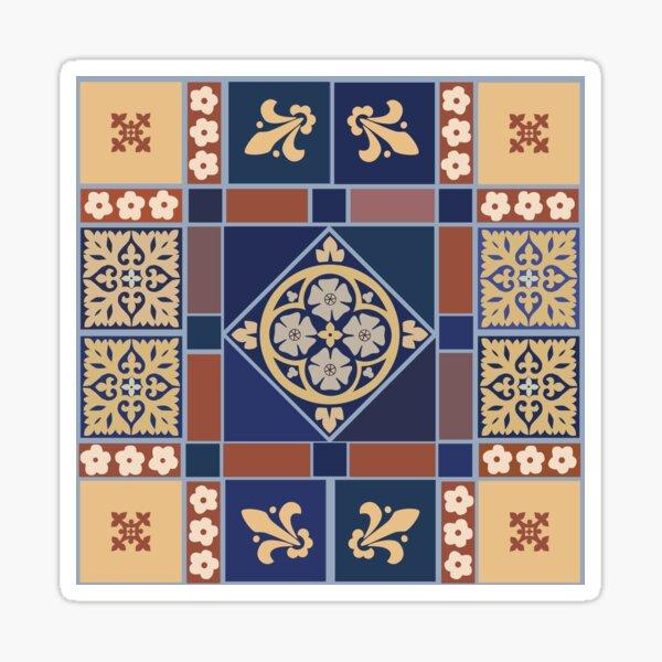 Medieval tiles: Blue Rose and Fleur de lis Sticker
