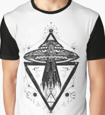 Abstract Spiritual UFO Space Alien Graphic T-Shirt