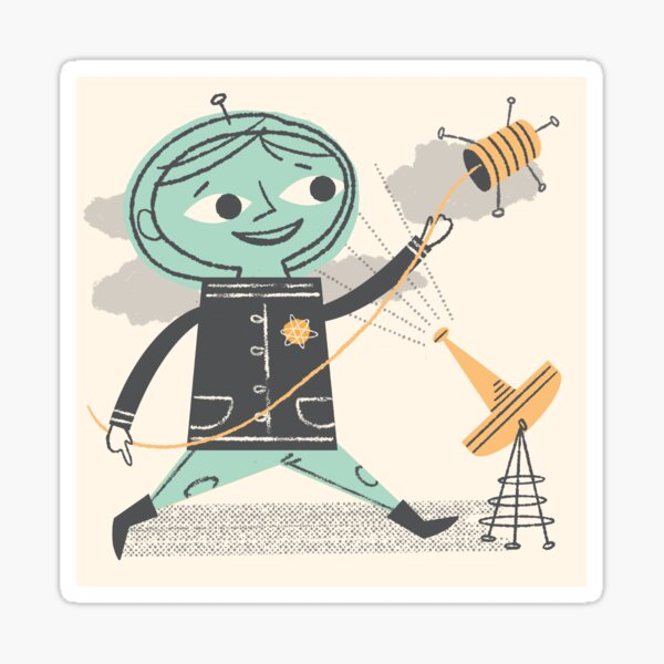 Space Boy with Sputnik Sticker